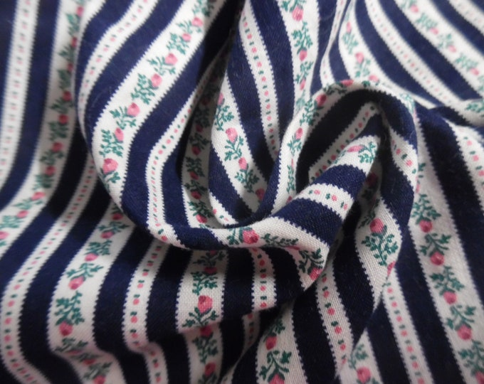 """Vintage 1970's Floral Ticking Stripe~Micro Rosebuds~Navy/Pink/White~12""""x45""""~Doll Fabric"""