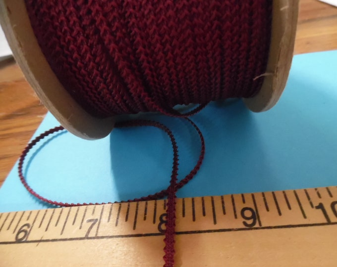 Imported Knobbly Braid~100% Rayon~2.5MM wide~Cranberry (Wine)~3 Yards~Doll Dress and Hat Trim!