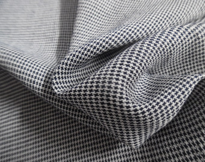 """Rayon Suiting~Micro Houndstooth~Navy/White~9.5""""x55""""~Doll Fabric~Flapper"""