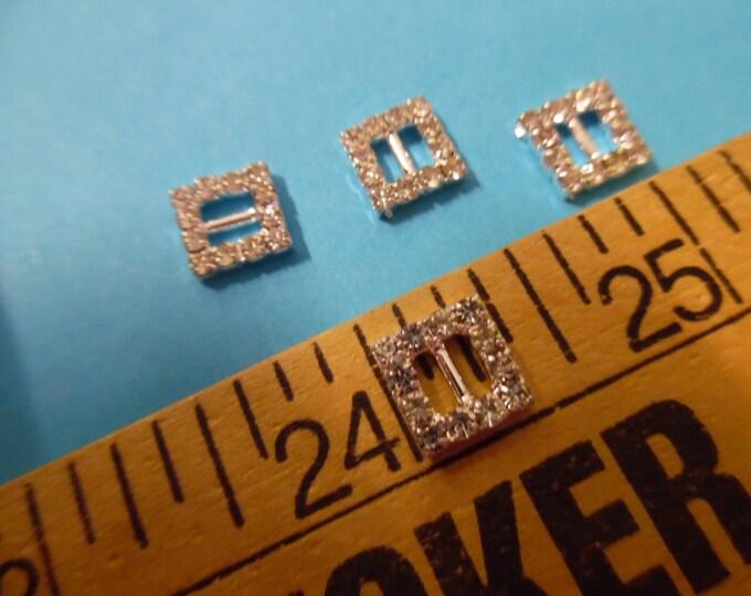 "Rhinestone Doll Buckles~Glass Stones/Silver setting~Square~3/8""x3/8""~Set of 4"