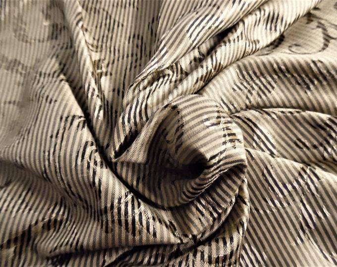 "Micro Stripe/Scroll Jacquard Silk~Reversible~12""x27""~Shades of Gold~Doll Fabric~Flapper"