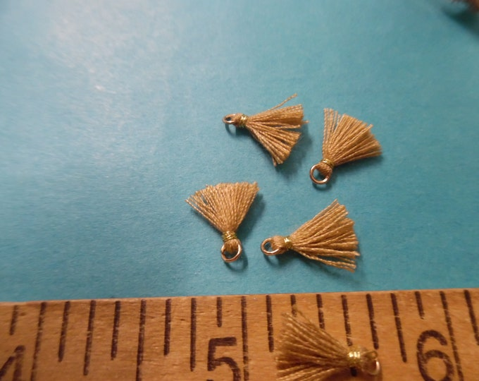 Itty Bitty Tassels~Old Gold~Set of Five~Tiniest I Can Find~Great 4 Adorning Doll Clothing~Accesories~Modern, Antique, & Vintage Dolls