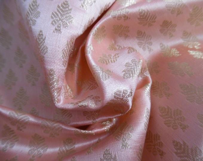 "Satin Jacquard Brocade~Small Leaf Design~Peachy Pink/Metallic Gold~9""x21.5""~Doll Fabric~Flapper"