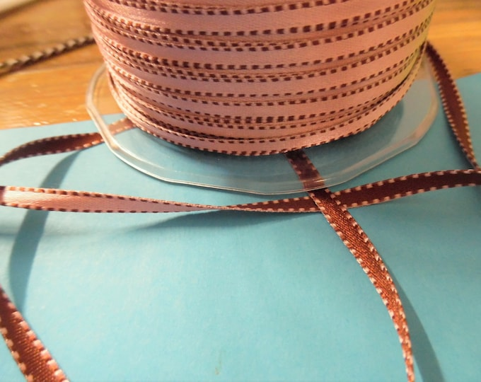 """Double Sided Satin Ribbon~Chocolate & Pink~3/16""""~4 Yards"""