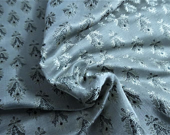 "Silk Blend Jacquard Brocade~Seafoam/Hunter/Pearl~9""x22""~Doll Fabric~Flapper~Read Description!"