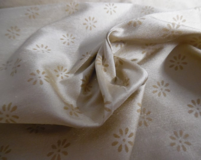 "Tiny Floral Print Silk Shantung~Dark Cream/Biscotti~9""x27""~Doll Fabric"