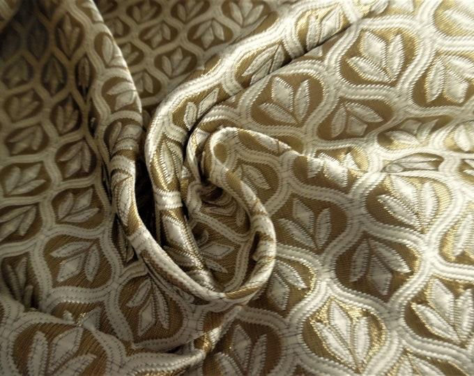 "Satin Jacquard Brocade~Medallions~White/Metallic Gold~Reversible~9""x21.5""~Doll Fabric~Flapper"