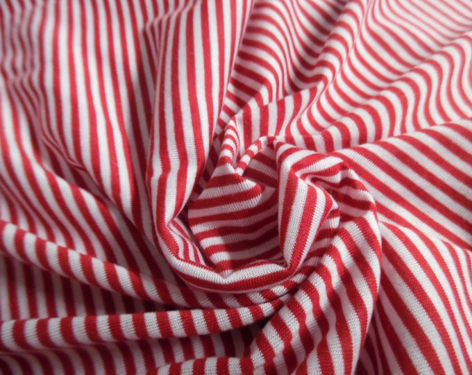 """Tiny Stripe Tissue Jersey Knit~Red & White~12""""x30""""~Great for your Christmas Elves! Doll Stockings"""
