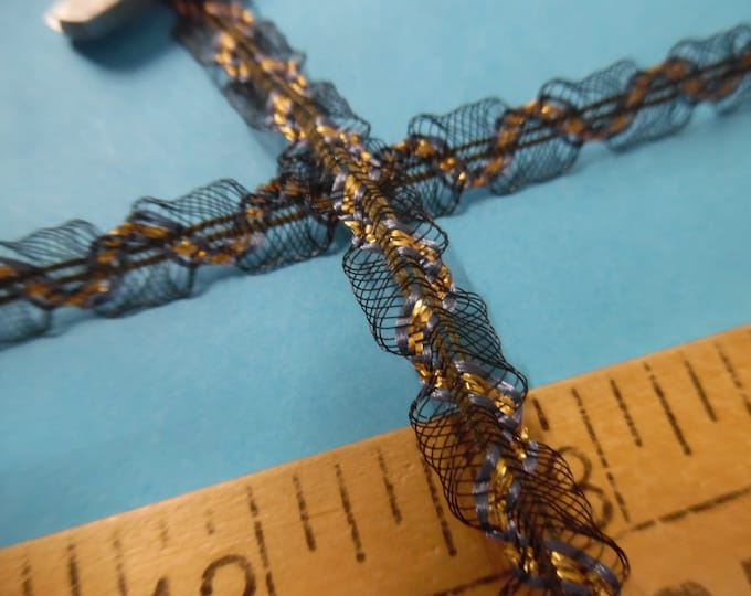 """Delicate French Passementerie~Fine Net Loops~GOLD/BLUE/BLACK~3/8""""x1YD~Doll Trim"""