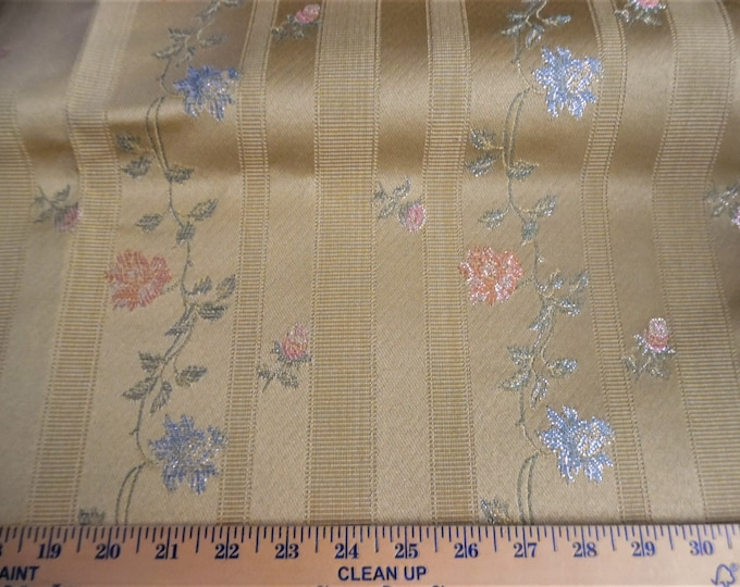 """Floral Stripe Satin Upholstery~Pink/Blue/Green on Gold~12""""x38""""~Doll Hats/Hat Boxes/Trunks"""