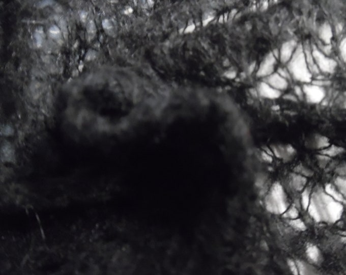 """Spider Web Sweater Knit~Wool Blend~Jet Black~Soft and fuzzy~12""""x32""""~Doll Sweaters"""
