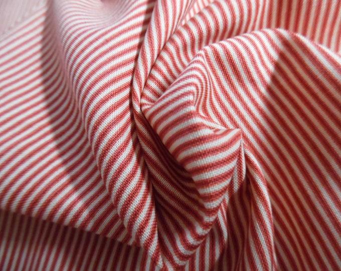 """Micro Stripe Cotton Calico~Red & Cream~9""""x45""""~Doll Fabric"""