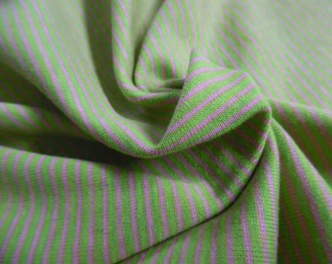 """Micro Stripe Cotton Jersey~Hot Pink/Lime Green~Doll Fabric~18""""x32""""~Great 4 stockings, socks, leggings, ect."""