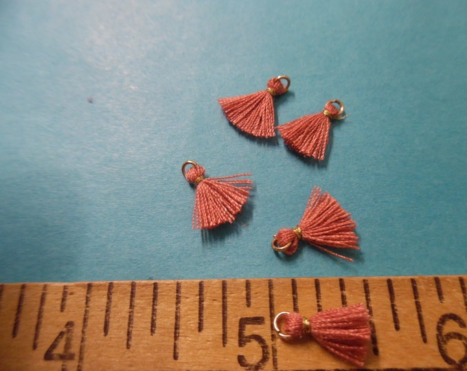 Itty Bitty Tassels~Dark Rose~Set of Five~Tiniest I Can Find~Great 4 Adorning Doll Clothing~Accesories~Modern, Antique, & Vintage Dolls