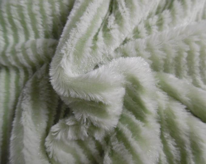 "Soft Silky Minky Faux Fur~Green Stripe~12""x30""~3/8""Pile~Coat & Hat Trim~Coats~Capes~Hats~Muffs"