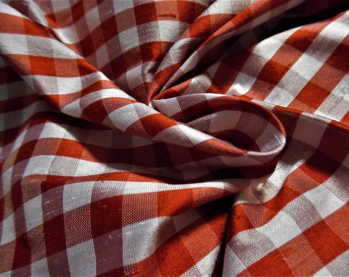 """Silk Shantung~Red and White Checks~By the Half Yard~18""""x54""""~Doll Fabric"""
