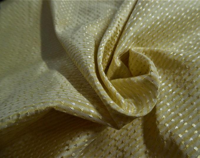 "Silk Jacquard~Micro Stripe/Dot~Shades of Yellow~Reversible~12""x27""~Doll Fabric~Miniatures"