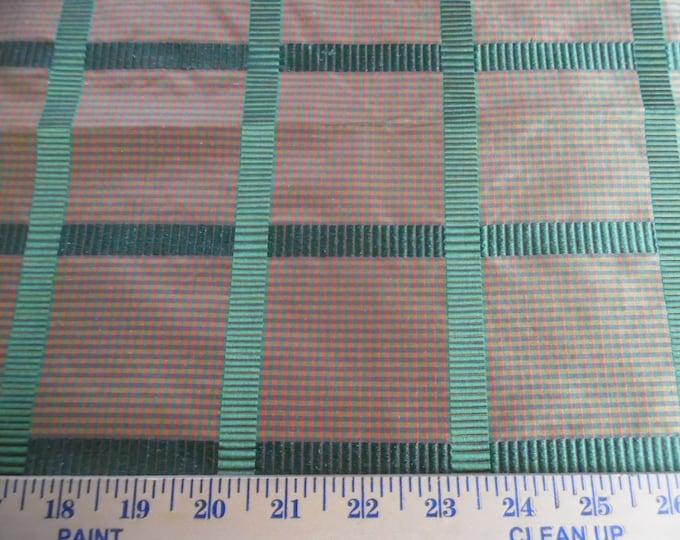 "High End Silk Taffeta~Ribbon Windowpane/Micro Check~Red/Green/Gold~18""x54""~Doll Fabric"