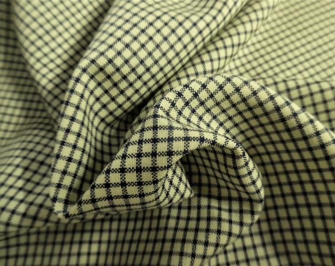 "100%Wool Suiting~Light Weight~Tiny Windowpane~Navy/Yellow~12""x30""~Doll Fabric"