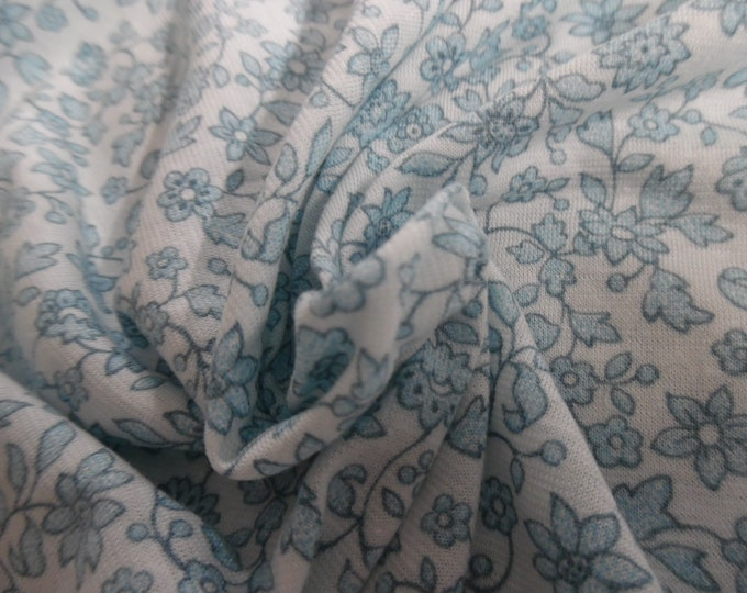 """Tissue Jersey~Tiny Floral in Shades of Blue on White~12""""x31""""~Great for Dolls!"""