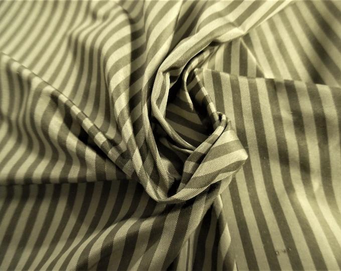 "High End Silk Taffeta~Tiny Stripe~Shades of Olive Brown~9""x27""~Doll Fabric"