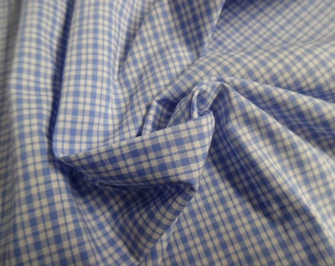 "Micro Plaid Pima Cotton~Blue/White~9""x58""~Great Doll Fabric~Miniatures"