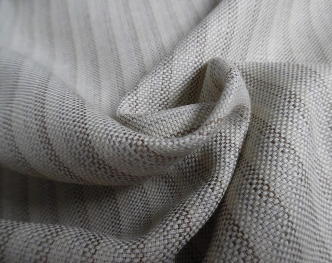 """CLEARANCE! 100% Wool Suiting~Basketweave~Muted Stripes~Slate/Brown/Cream~18""""x60""""~Great for Dolls"""