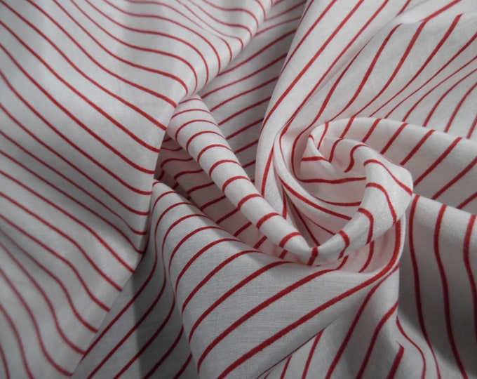 """Silk/Cotton Voile~Diagonal Pin Stripe of Red on White~12""""x54""""~Doll Fabric"""