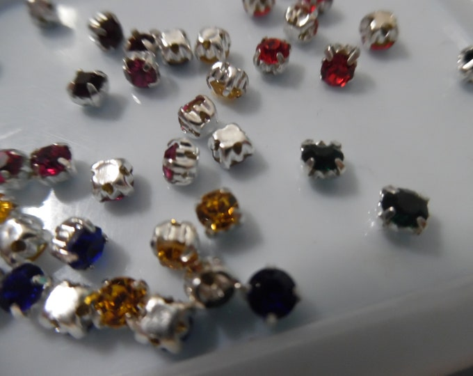 Tiny Multi colored rhinestone buttons/embellishments~Silver Setting~3MM~Set of 42~Dolls~Flapper