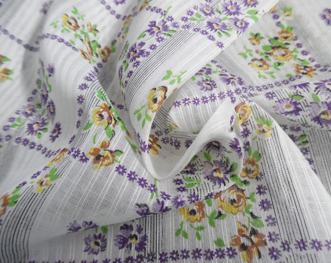 """Vintage 1950's Cotton Dimity Voile~Floral Windowpane~Purple/Gold/White~Sheer~12""""x36""""~Doll Fabric"""