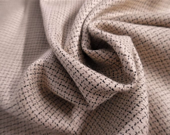 """Rayon Suiting~Micro Windowpane Design~Navy/Brown on Sand~12""""x30""""~Doll Fabric~Flapper"""