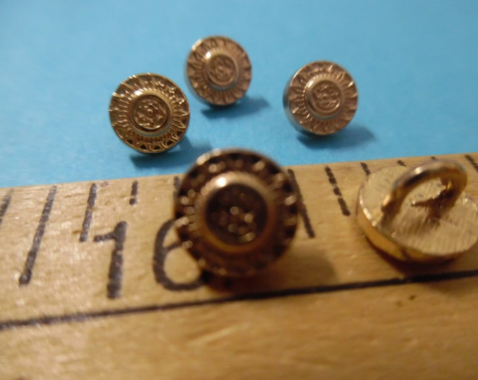 Metal Shank Buttons~Embossed Design~Gold~8MM~Set of Five~Doll Buttons