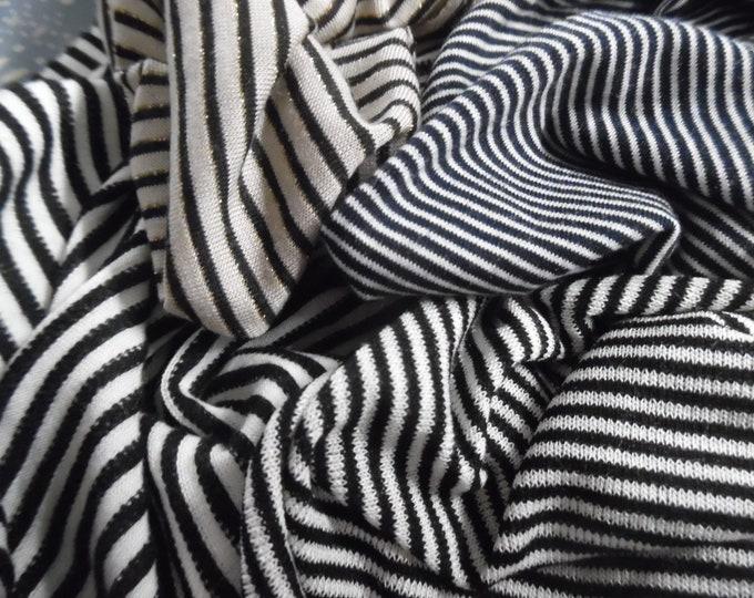 Tiny Black Stripe Jersey Knit Assortment~4 Styles~1/2Yard~Great 4 hats, socks, tops, ect.