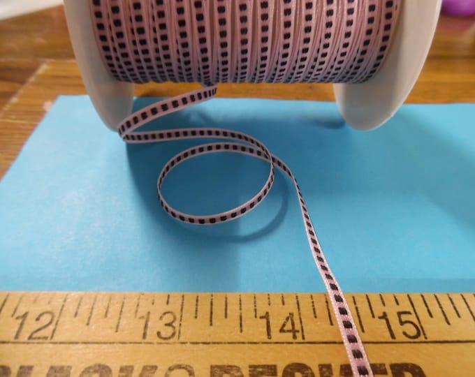 "Tiny Center Stitch Ribbon/Braid~Nylon~1/8""~Pink & Black~3 Yards~Doll Dress and Hat Trim!"