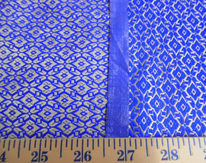 "Satin Jacquard Brocade~Tiny Scale Print~Sapphire/Gold~Reversible~9""x21.5""~Doll Fabric~Flapper"