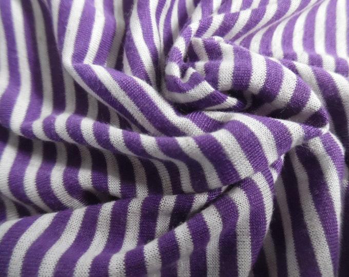 "Tiny Stripe Tissue Jersey~Purple & White~Doll Fabric~12""x33""~Great 4 stockings, socks, leggings, ect."