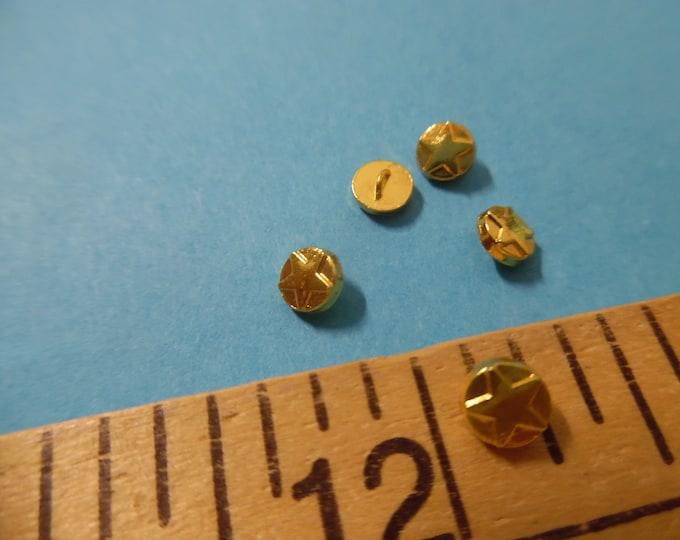 Tiny metal shank doll buttons~Raised Star Emblem~4.5MM~Bright Gold~Set of five~Modern, Antique & Vintage Dolls