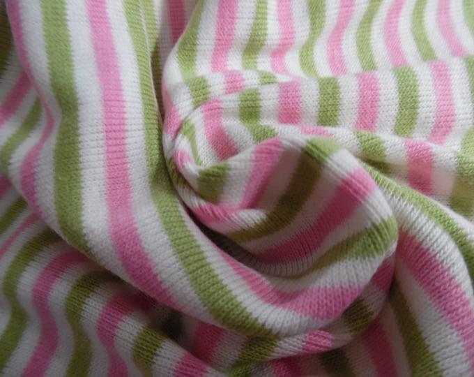 "Tiny Stripe Jersey~Pink/Green/White~100% Cotton~Doll Fabric~12""x33""~Great 4 stockings, socks, leggings, ect."