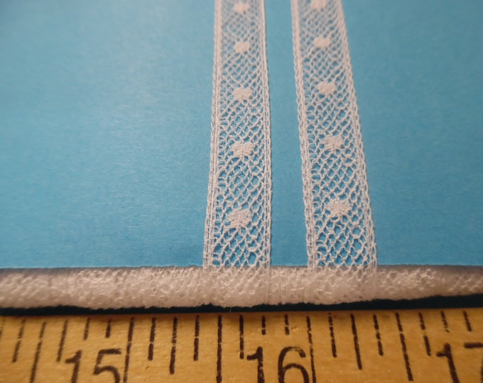 """French Insertion Lace~3/8""""wide~White~Capital Imports~BY THE YARD~Doll lace~Heirloom Sewing"""