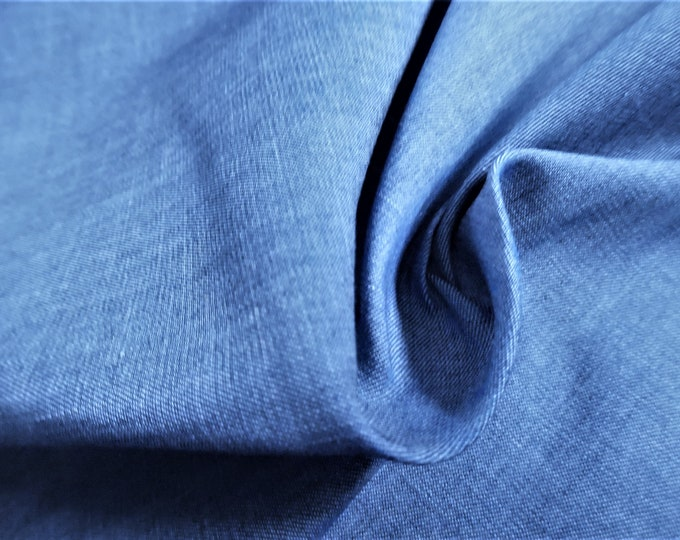 """Chambray Cotton Voile~Cornflower Blue~Denim Look~12""""x30""""~Great Doll Fabric"""
