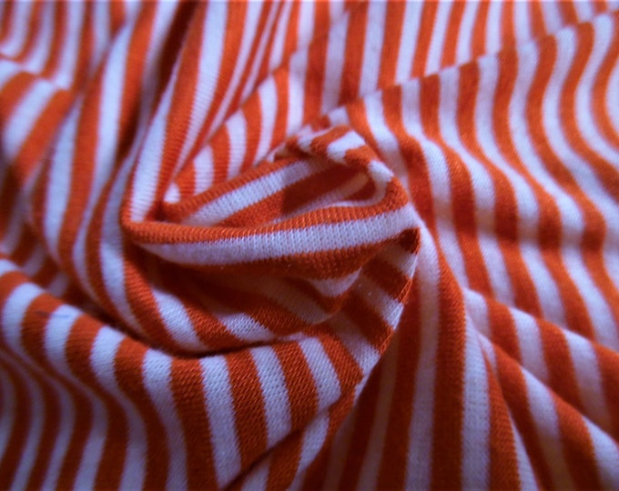 """Tiny Stripe Tissue Jersey~Poppy Red and White~Doll Fabric~12""""x31""""~Great 4 stockings, socks, leggings, ect."""