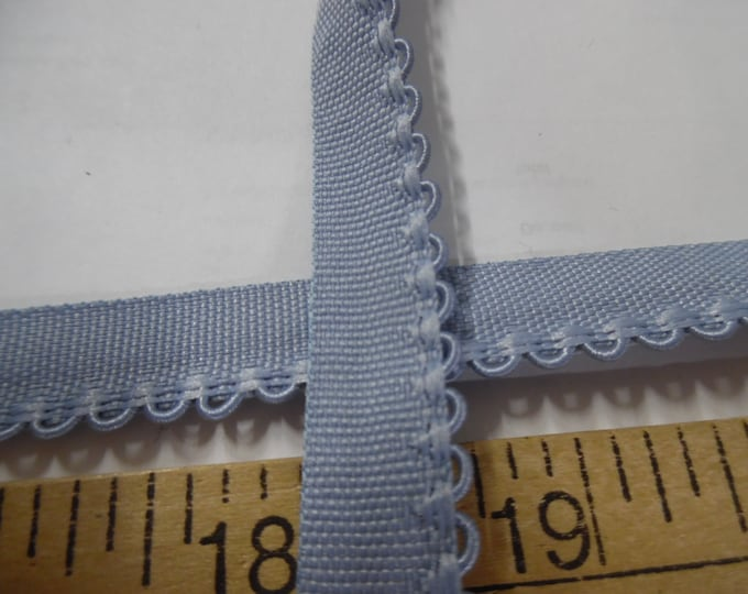 """Vintage 1/2"""" Flat Braid with Embroidered Scalloped Edge~French Blue~By The Yard~Doll Dress and Hat Trim!"""
