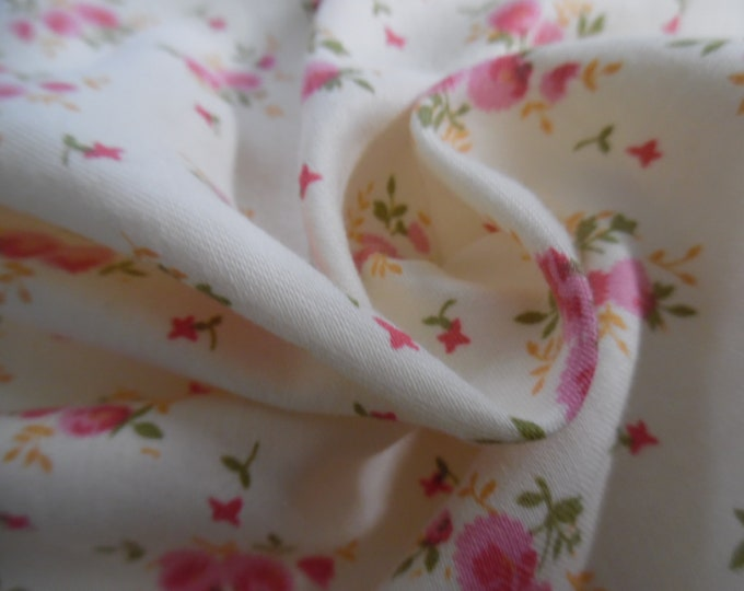 """Vintage 1950's Cotton~Light Weight~Small Floral Clusters~Pink/Green/Ivory~12""""x36""""~Doll Fabric"""