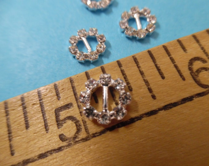"""Tiny Rhinestone Doll Buckles~3/8"""" Round Silver Setting~Set of 4~Great for Barbie!"""