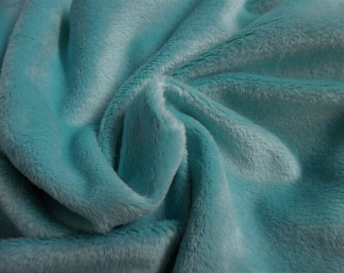 "Soft Silky Minky Faux Fur~Aqua~12""x30""~1/8""Pile~Coat & Hat Trim~Coats~Capes~Hats~Muffs"