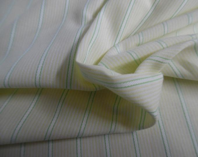 """Jacquard Pin Stripe Cotton Lawn~Yellow/White/Green~18""""x30""""~Doll Fabric"""