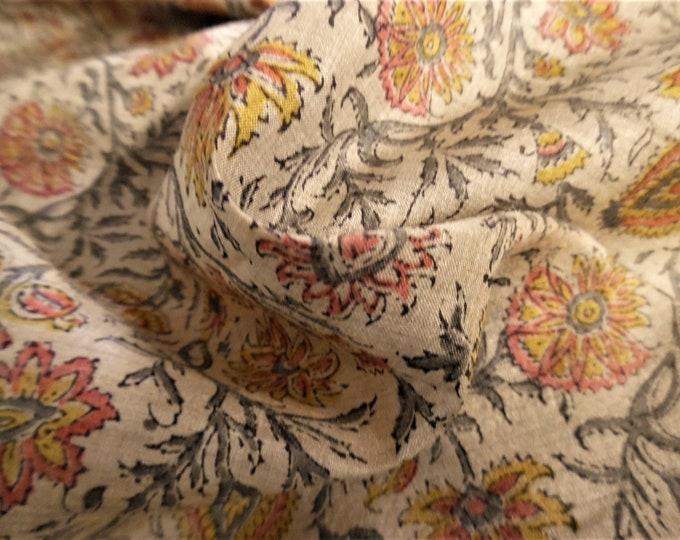 "Vintage Silk Voile~Allover Floral Pattern~Slightly Crisp~Gray/Salmon/Gold/Ecru~12x44""~Flapper Dolls~Read Description!"