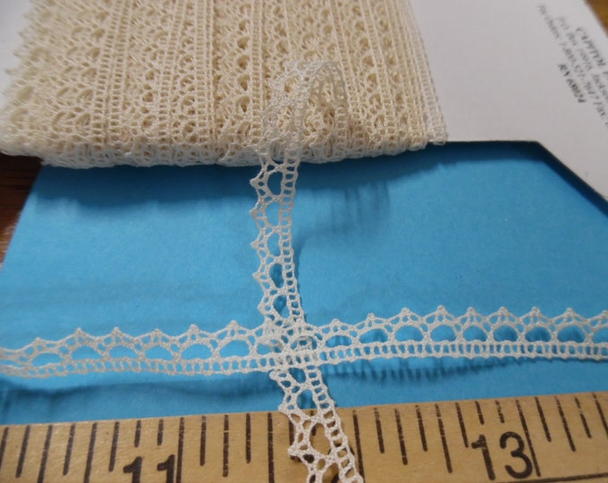 """French Cotton Lace~3/8""""~Ecru~BY THE YARD~Doll Trim~Heirloom Sewing~Lace S-2"""