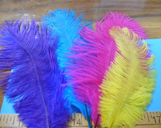 Ostrich Feather Assortment~Mardi Gras Mix~4 Feathers~Great For Doll Hats~Fapper