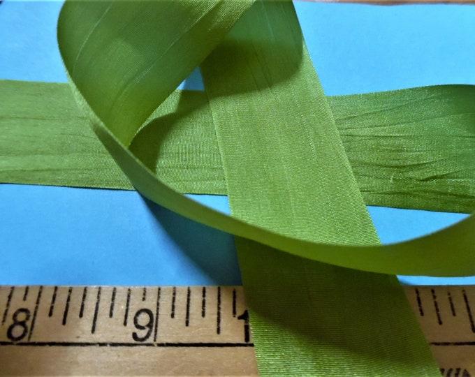 Wide Silk Ribbon~33MM x 1 Yard~MOSS GREEN~Doll Dress and Hat Trim